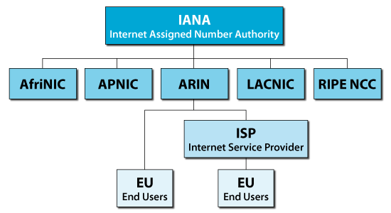 Chart showing hierarchical structure of Internet number resource distribution.