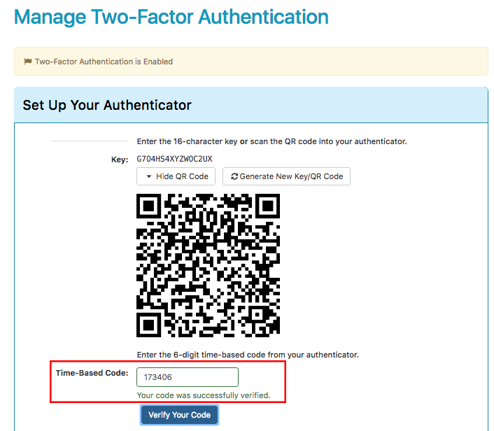 two factor authentication screen showing code was verified