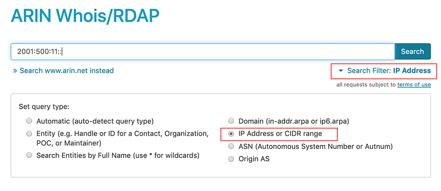 screen capture showing whois/rdap search with ip filter