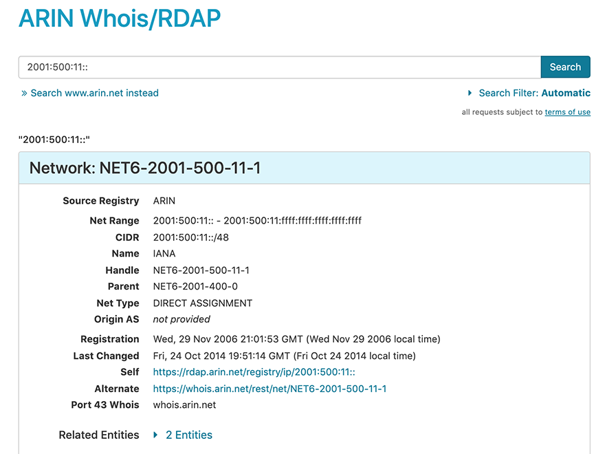 screen capture showing results from searching on an ip address