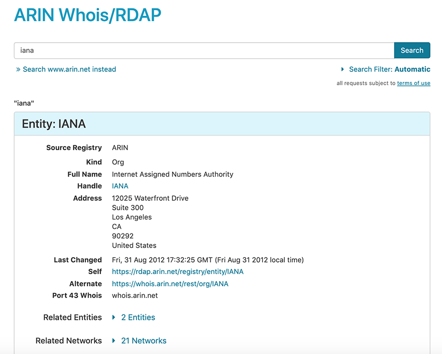 screen capture showing whois-rdap interface