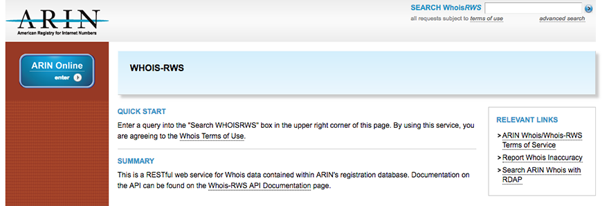 screen capture showing whois-rws interface